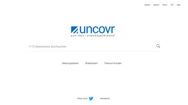 Screenshot uncovr Startseite